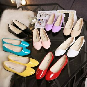 Women-Patent-Pointed-Toe-Low-Stiletto-Work-Casual-Pumps-Court-Shoes-Flat-heel