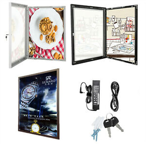 A3-A2-A1-A0-LED-Lockable-Poster-Frame-Menu-Display-Case-Wall-Mount-Notice-Board