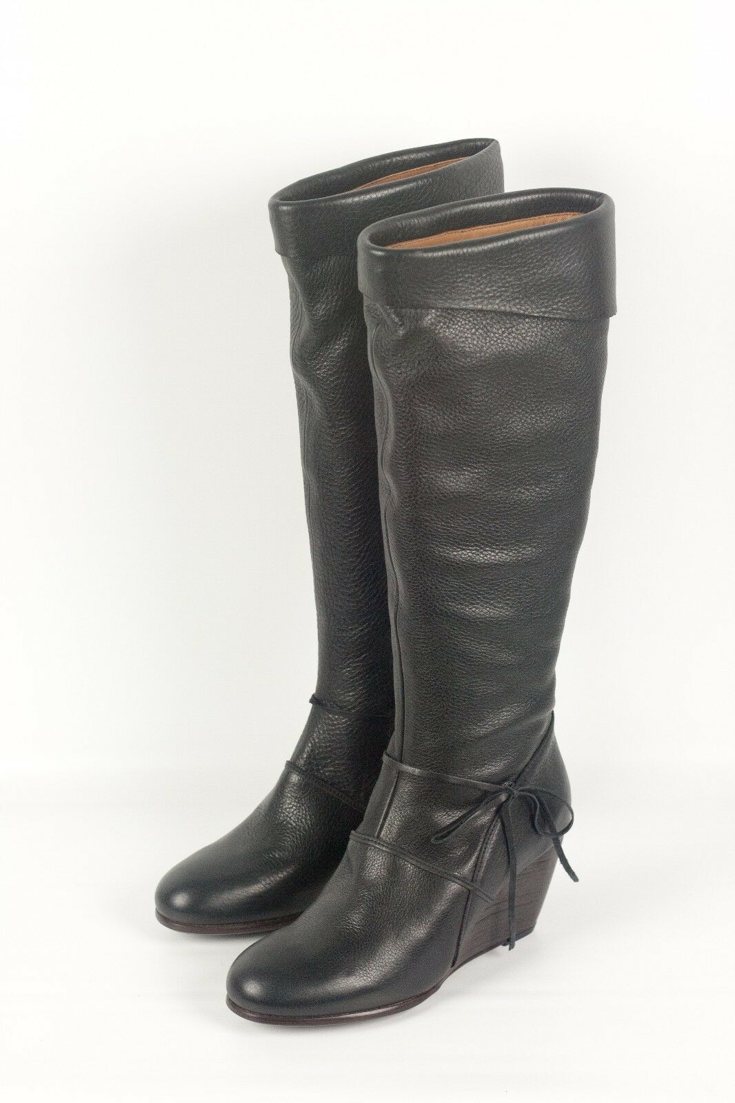 NEW IN BOX  525 Coclico West Black Leather Wedge Boots Size 37 GORGEOUS