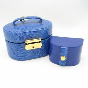 WOLF DESIGNS 2 in 1 Genuine Leather Blue Jewelry Box Travel Case