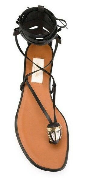 Valentino Brown Black Mask Detail Lace-up Gladiator Gladiator Gladiator Sandals Size  39 NEW 57cefe