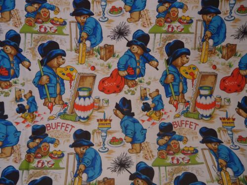 65cm x 60cm Vintage PADDINGTON BEAR Large Fabric Remnant