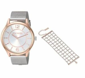 NIB* Steve Madden watch Rhinestone Lattice Cuff Bracelet Set style SMWS058M2