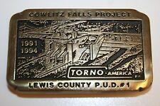 Vintage 1992 Cowlitz Falls Project Brass Belt Buckle P.U.D #1 Torno America Inc.