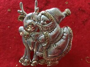 Vintage-signed-BEST-Christmas-brooch-pendant-silver-amp-gold-tone