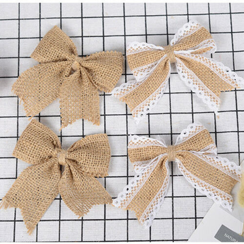 Bowknot Hessian Handmade Jute Bows Burlap Lace Ribbon Wedding Rustic Decor Craft