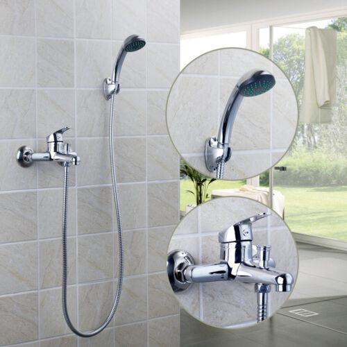 Wall Mounted Chrome Exposed Bathroom Rain Shower Faucet Set Bathtub Mixer Tap