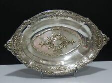 Plat en métal argenté oval de style rocaille L : 40 cm