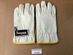 Set of Premium 3M Thinsulate Industrial Leather Work Gloves 100 Gram 2X-Large