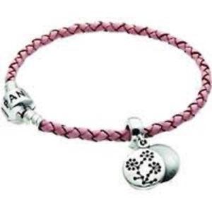 9e357c5fe Image is loading PANDORA-Pink-Single-Leather-Breast-Cancer-Bracelet-RRP-