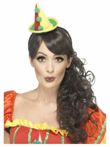 Men/'s Women/'s Fancy Dress Clown Hat Multi-Coloured /& Pom Poms Stag Hen Theme Fun