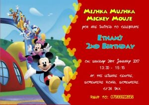 Details About More Personalised Mickey Mouse Clubhouse Inspired Invitations Various Designs