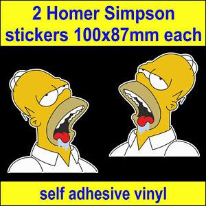 2 Homer Simpson Drole Autocollants Velo Chambre A Coucher Portable Boite A Outils Vw Van Voiture Autocollants Ebay