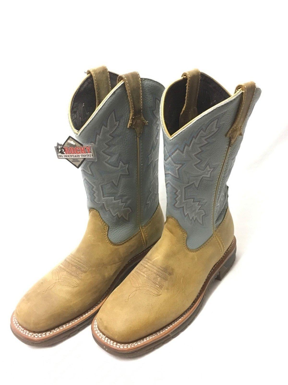 Dedo del pie cuadrado Damas Rocky botas de trabajo con Polvo Azul Tops, estilo 2638