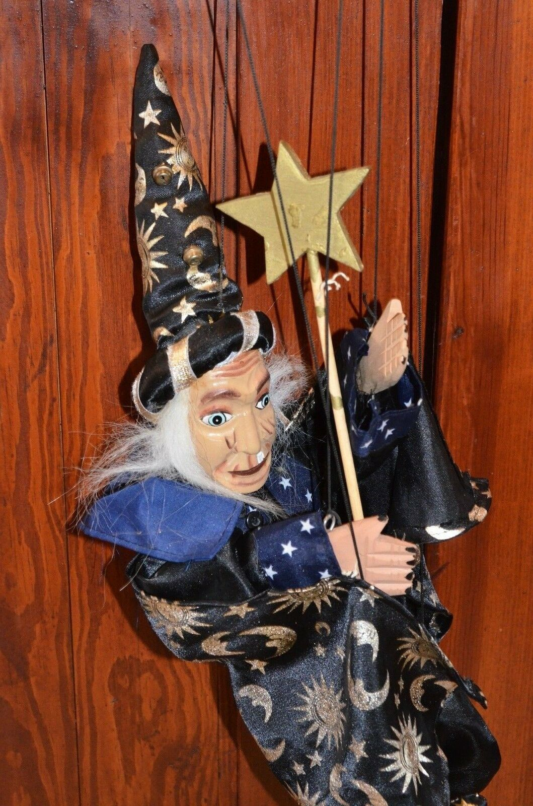 Vintage Wooden WIZARD Sorcerer Marionette With Cape and Star Wand