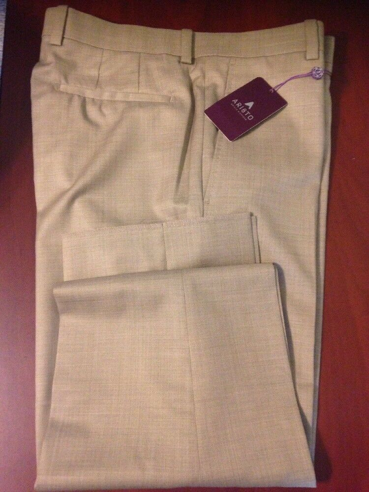 Ari8to Aristo Eighteen Stirling Wheat Mens Size 32 Dress Pant Flat Front Trouser