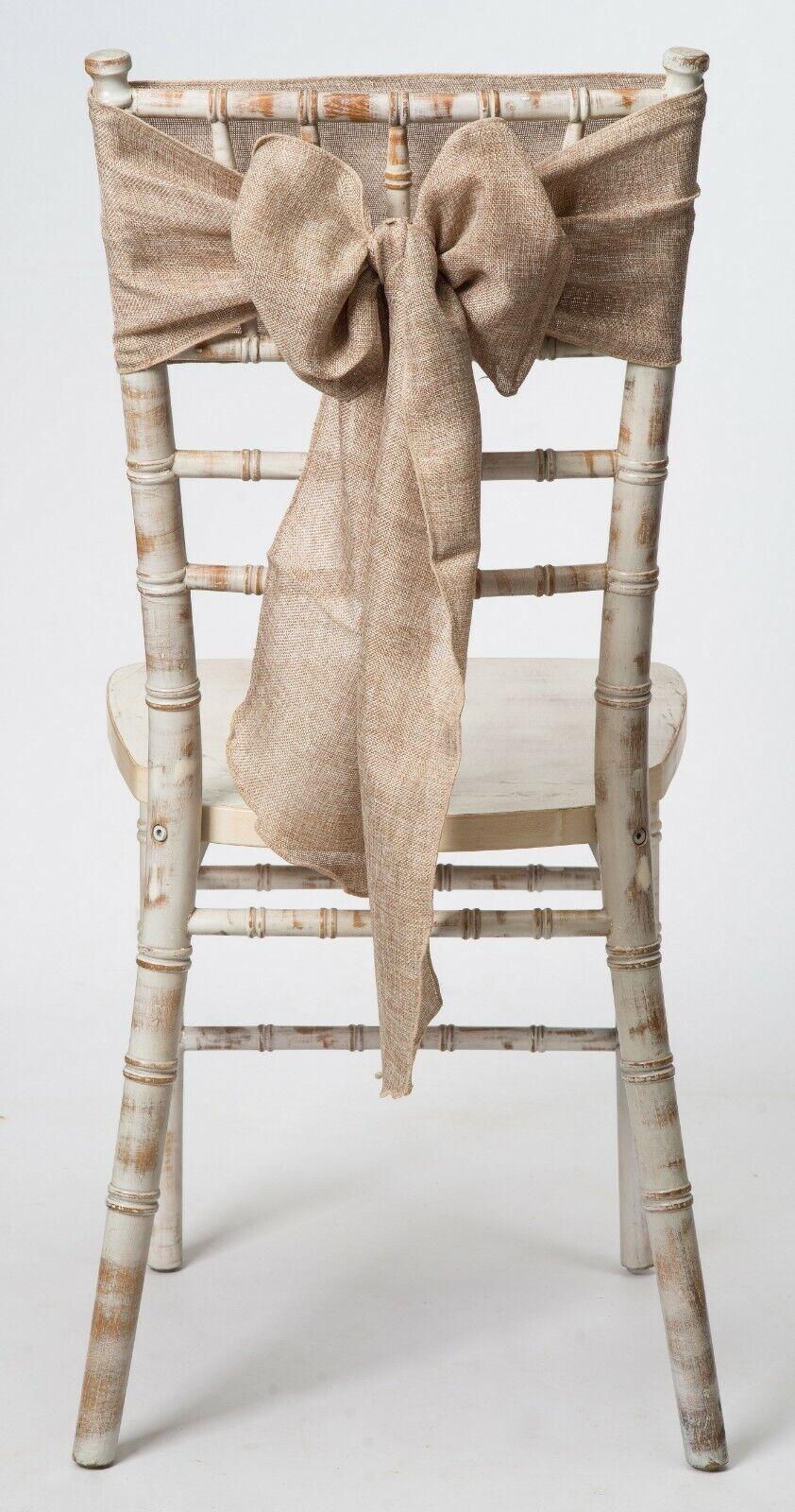 Natural Faux Hessian Linen Wedding Chair Sash, 1,10,25,50,100