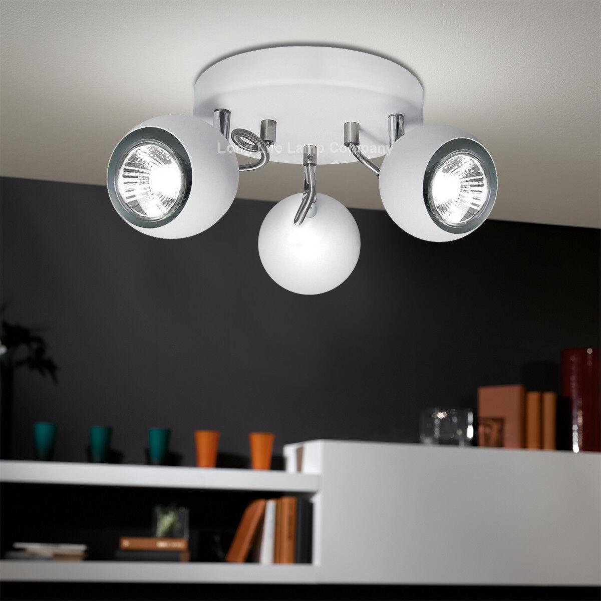 Retro LED Eyeball 3 Way Adjustable Ceiling Spotlight WHITE Light ...