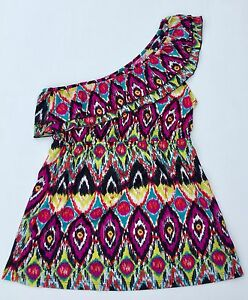 SELF-ESTEEM-RUFFLED-ONE-SHOULDER-JERSEY-TOP-SOUTHWEST-AZTEC-JUNIOR-SIZE-LARGE