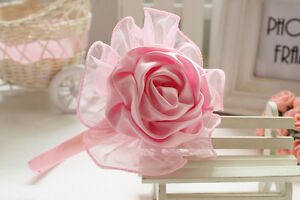 Baby-Girls-Shabby-Satin-Rose-Headband-Hairband-Hair-Newborn-Christening