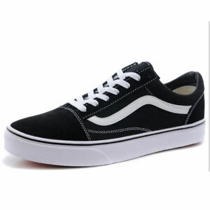 b20976b62a93 Details about VAN Old School Skate Shoes Black White Classic Canvas Sneaker  UK Size UK3-UK9.5