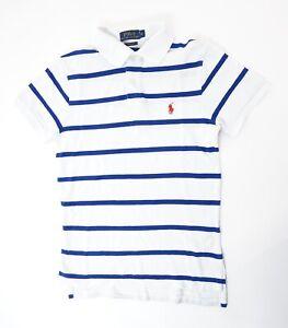 Ralph-Lauren-Poloshirt-Polohemd-Herren-Gr-XS-weiss-gestreift-Knopf-Pique-S1293