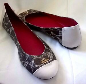 a2638051960 ... get image is loading new coach chelsea signature ballet flats 6 6 70c48  6916a