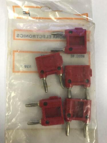 LOT OF 5 Pomona MDP-S-2 Red Double Banana Plug w//Shorting Bar