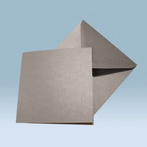 Large Square Card Blanks /& Envelopes 155mm Silver Pearl Shimmer double sided