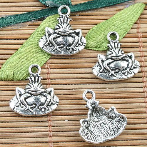 Alloy Metal Tibetan Silver Color Grenouille Design Charms 18pcs EF0012
