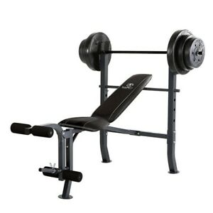 Standard Adjustable Workout Bench Press with 100lb Weight Set (No CA Or PR)