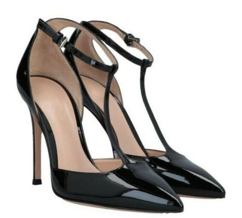 verniciata spillo Sandals Summer Casual Buckle Tacchi Pelle Womens Occident a Shoes q1wSq6X