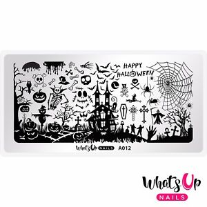 A012-Happy-Halloween-Stamping-Plate-For-Stamped-Nail-Art-Design