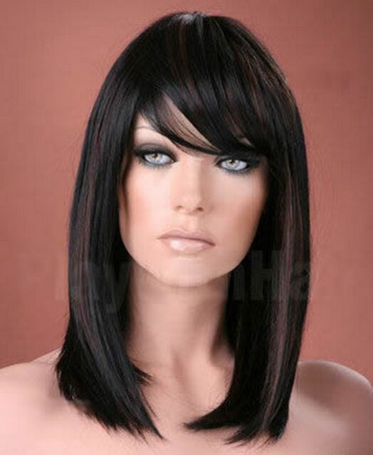 Ladies Long Straight Side Bangs Fringe off Black With Copper Highlights Wig   eBay