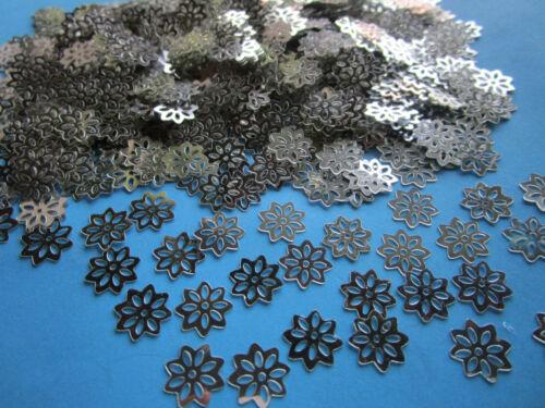 100 steine Biumen silber 6mm Breit  Nähen Scrapbooking Elegante