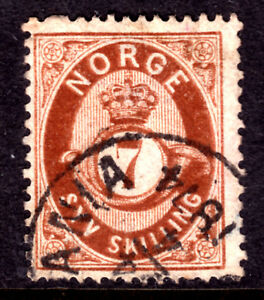 NORWAY-21-7s-RED-BROWN-1875-F-CDS