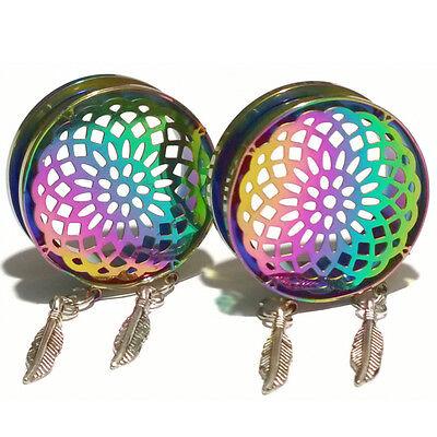 Pair of Rainbow Mandala Stainless Steel Ear Flesh Tunnels Plugs Gauges Earrings