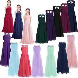 087f04246 Flower Girl Dress Kids Maxi Long Formal Ball Gown Wedding Bridesmaid ...