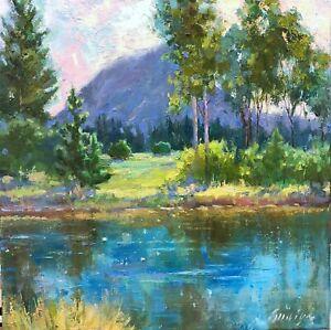 Mountain painting original trees landscape art oil on canvas  impressionism art