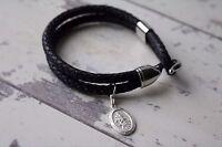 Saint Christopher - Leather Bracelet - Personalized Leather Bracelet