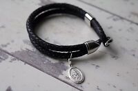 Saint Christopher - Leather Bracelet - Personalized Leather Bracelet