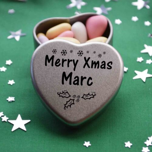 Merry Xmas Marc Mini Heart Tin Gift Present Happy Christmas Stocking Filler