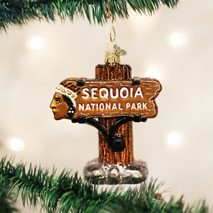 36176 OWC Sequoia National Park Entrance Sign Glass Ornament California Forest