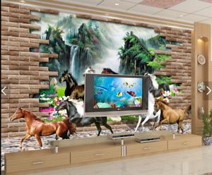 3D Bergpferde Gruppe 696 Tapete Tapeten Mauer Foto Familie Tapete Wandgemälde DE
