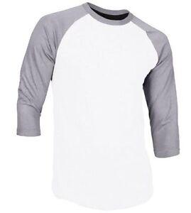 New 3 4 Sleeve Raglan Baseball Mens Plain Tee Jersey