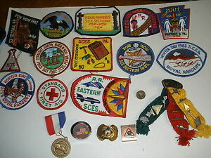 HUGE-lot-of-vintage-Pow-Wow-Boy-Scout-patches-Webelos-ribbon-metals