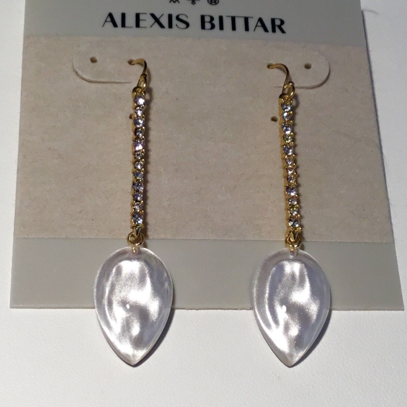 NWOT ALEXIS BITTAR 10 K SWAROVSKI CRYSTAL  LUCITE EARRINGS