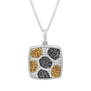 1-2-ct-Black-White-amp-Champagne-Diamond-Pendant-in-Sterling-Silver-amp-14K-Gold