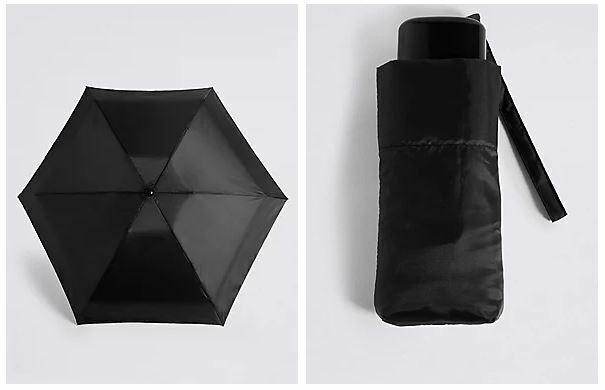 M&S Ladies Flexilite Black Flat Compact Umbrella with Stormwear MARKS & SPENCER