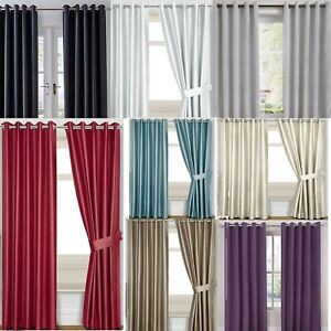 Slubbed Faux Silk Ready Made Blackout Ring Top Curtains